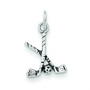 Antiqued Golf Clubs Ball Charm in Sterling Silver