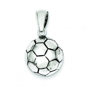 Antiqued Soccer Ball Pendant in Sterling Silver