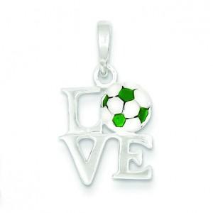 Love Soccer Pendant in Sterling Silver