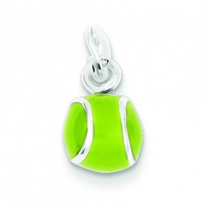 Green Tennis Ball Charm in Sterling Silver