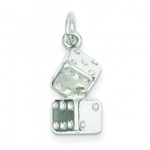 Large Dice Charm in Sterling Silver