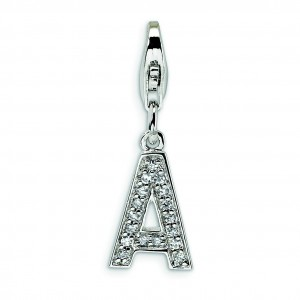CZ Letter A Lobster Clasp Charm in Sterling Silver