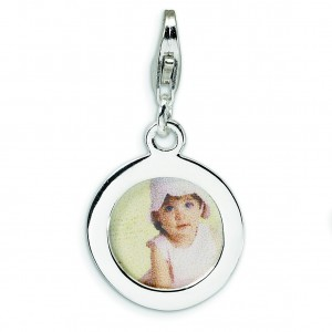 Circle Frame Lobster Clasp Charm in Sterling Silver