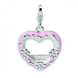 Pink Heart Photo Lobster Clasp Charm in Sterling Silver