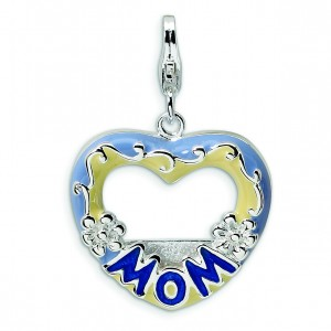 Blue Mom Photo Lobster Clasp Charm in Sterling Silver