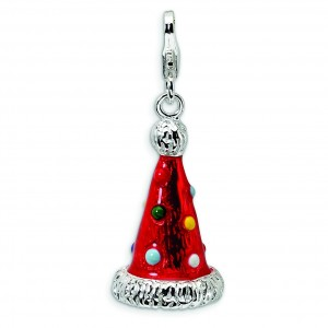 Red Party Hat Charm in Sterling Silver