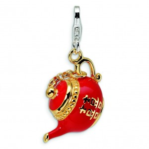 Red Tea Pot Lobster Clasp Charm in Sterling Silver