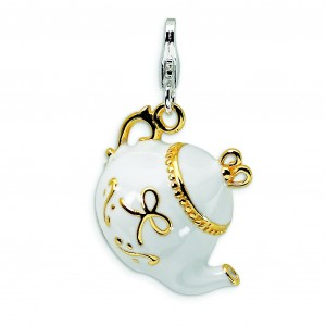 White Tea Pot Lobster Clasp Charm in Sterling Silver