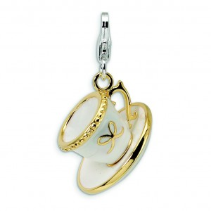 No Suggestions White Enam Cup Saucer Lobster Charm in Sterling Silver