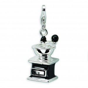 Black Coffee Grinder Lobster Clasp Charm in Sterling Silver