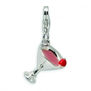 Pink Martini Lobster Clasp Charm in Sterling Silver