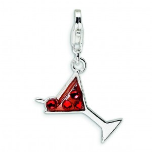 Crystal Martini Glass Lobster Clasp Charm in Sterling Silver
