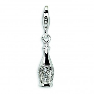 CZ Champagne Bottle Lobster Clasp Charm in Sterling Silver
