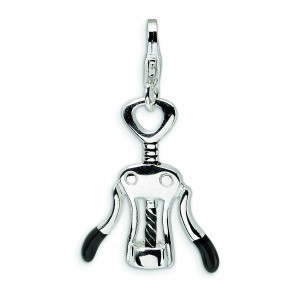 Cork Screw Lobster Clasp Charm in Sterling Silver