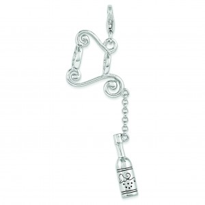 Wine Bottle On Stand Lobster Clasp Charm in Sterling Silver