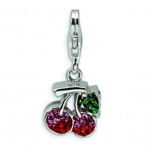 Swarovski Crystal Cherries Lobster Clasp Charm in Sterling Silver