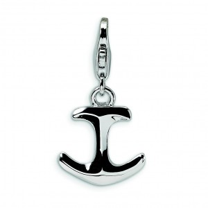 Anchor Lobster Clasp Charm in Sterling Silver
