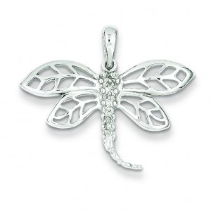 Diamond Dragonfly Pendant in Sterling Silver