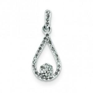Diamond Teardrop Pendant in Sterling Silver