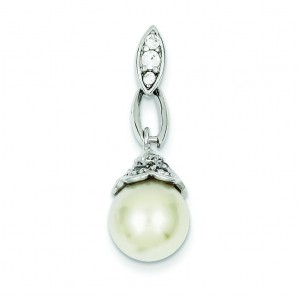 Syn Pearl CZ Pendant in Sterling Silver