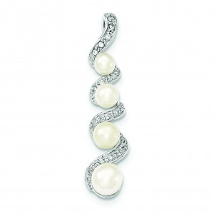 Freshwater Pearl CZ Pendant in Sterling Silver