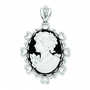 Black White Pendant in Sterling Silver