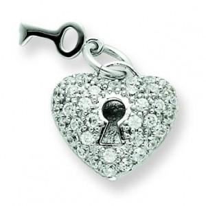 Key Heart CZ Pendant in Sterling Silver