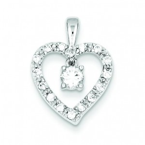 Circles CZ Heart Pendant in Sterling Silver