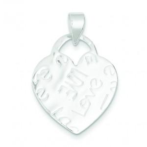 Embossed Love Heart Pendant in Sterling Silver
