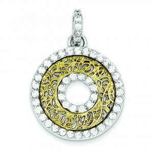 CZ Circle Pendant in Sterling Silver