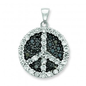 Black White CZ Peace Symbol Pendant in Sterling Silver