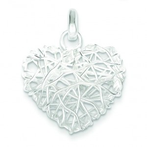 Puffed Heart Pendant in Sterling Silver