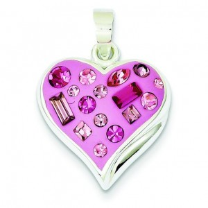 Pink Crystal Heart Pendant in Sterling Silver