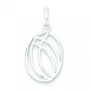 Fancy Oval Pendant in Sterling Silver