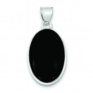 Onyx Oval Pendant in Sterling Silver