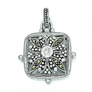 Marcasite CZ Pendant in Sterling Silver