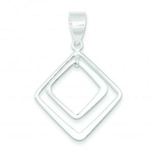Diamond Shape Pendant in Sterling Silver