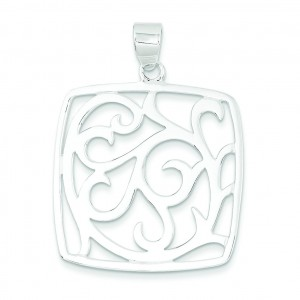 Fancy Square Pendant in Sterling Silver