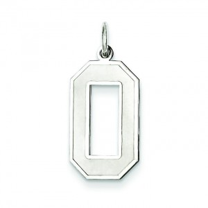Large Number 0 in Sterling Silver