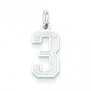 Small Number 3 in Sterling Silver
