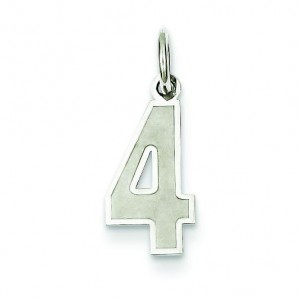 Small Number 4 in Sterling Silver