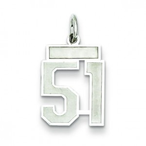 Small Number 51 in Sterling Silver