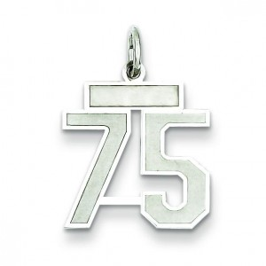 Small Number 75 in Sterling Silver