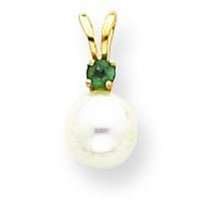 White Cultured Pearl Emerald Pendant in 14k Yellow Gold