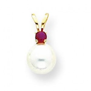 White Cultured Pearl Ct by Pendant in 14k Yellow Gold