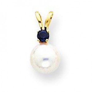 White Cultured Pearl Ct Sapphire Pendant in 14k Yellow Gold