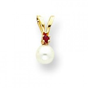 White Cultured Pearl by Pendant in 14k Yellow Gold