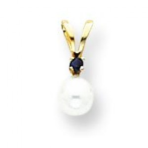 White Cultured Pearl Sapphire Pendant in 14k Yellow Gold