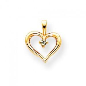 Enhanced Blue Diamond Heart Pendant in 14k Yellow Gold