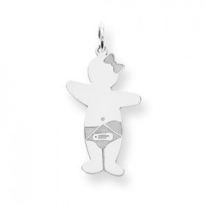 Baby Girl Cuddle Charm in Sterling Silver